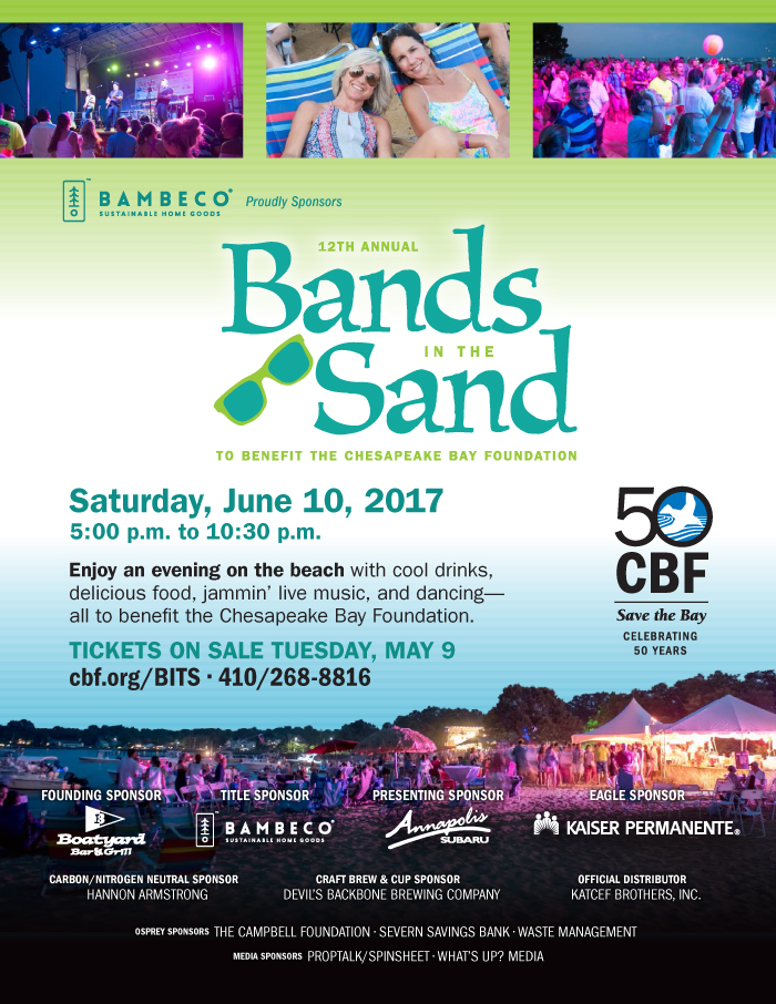BITS2017 PropTalkFullSponsorAdBands in the Sand, BITS, benefit for Chesapeake Bay Foundation, Boatyard philanthropy