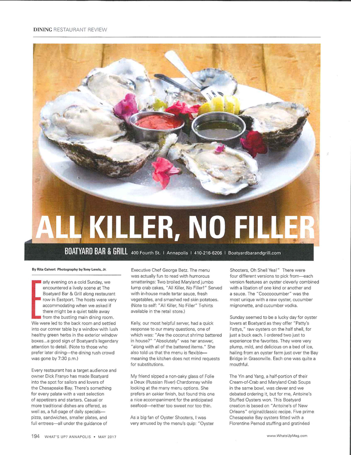 Whats Up Review May 2017 Find out about the Boatyard Bar and Grill's latest press review and enjoy the article about our all killer no filler crab cakes