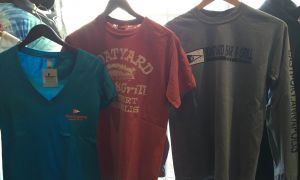 merchandise, Boatyard Bar on the Annapolis harbor, Maryland mementos, hoodies, t-shirts, crab cakes