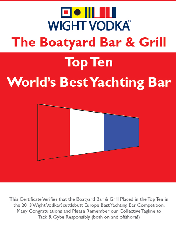 Boatyard bar names top ten world's best yachting bars by Wight Vodka come in and find out what all of the press reviews are about