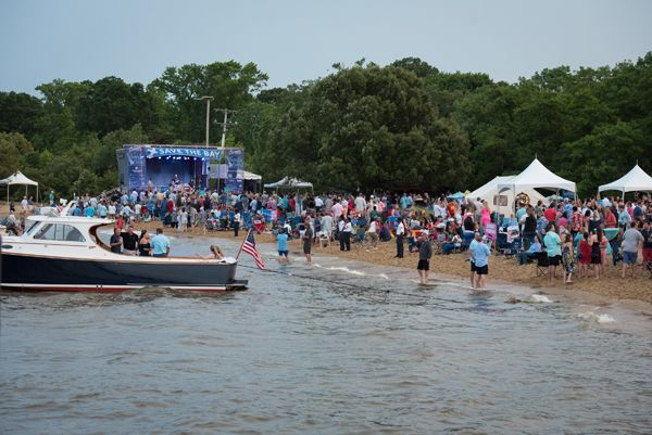 Beach with Stage and boat far